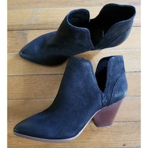 Frye Reina Cut Out Black Nubuck Leather Ankle Boot